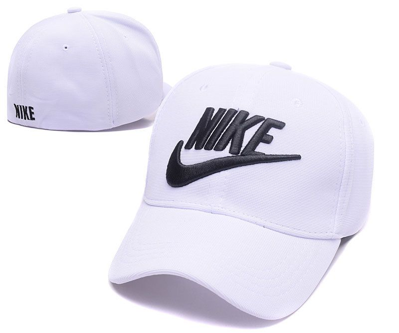 56b0a6af4f3 Men s   Women s Nike Black True Iconic Logo Embroidery Flexfit Hat - White