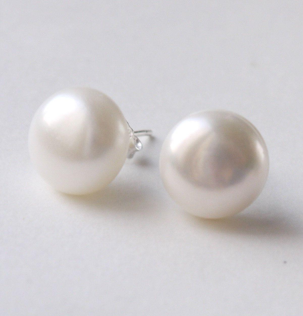 Large Pearl Earrings  14mm Big Ivory White Freshwater Pearl Sterling  Silver Stud Post Earrings