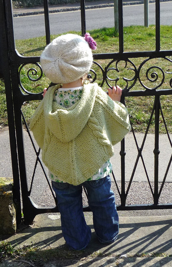 BABY KNITTING PATTERNS - poncho - cabled poncho - pdf instant ...