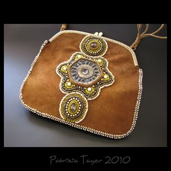 Bead Embroidered Suede Bag by Triz Designs (Private Collection)