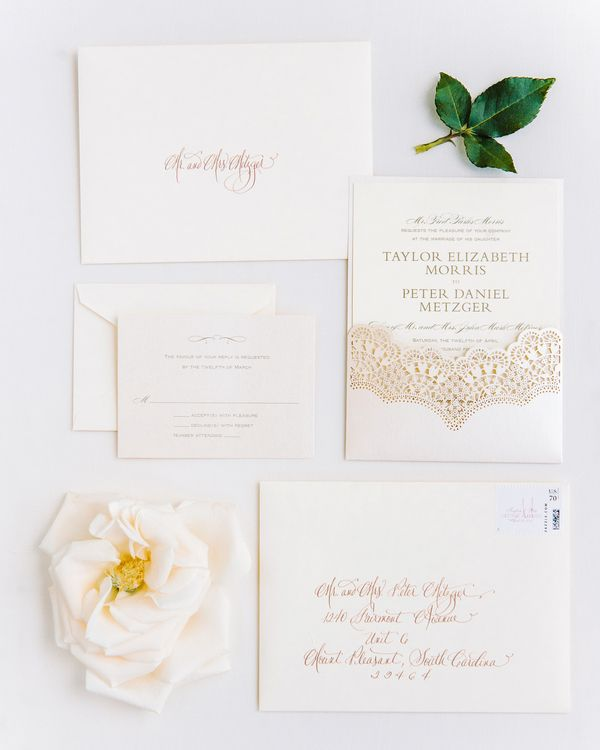 White Stationery with Gold Letters Wedding papercraft Pinterest - Formal Invitation Letters