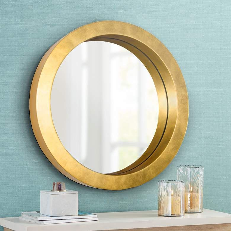 Varaluz Casa Ringleader Gold Leaf 23 1 2 Round Wall Mirror 21a41 Lamps Plus In 2020 Mirror Wall Round Wall Mirror Accent Mirror Wall