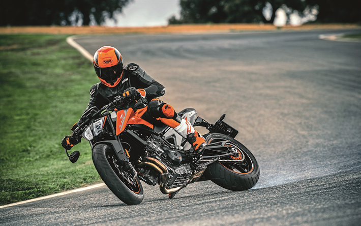 Download wallpapers 4k, KTM 790 Duke, drift, 2018 bikes, rider, superbikes, KTM
