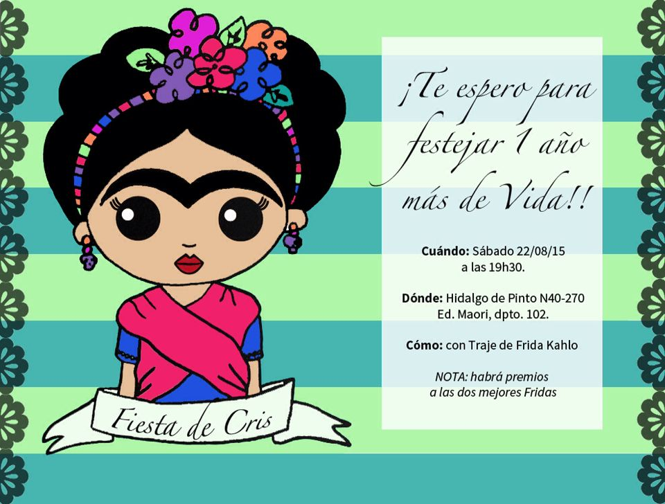 Invitacion Fiesta Frida Kahlo Frida Kahlo Caricatura Frida