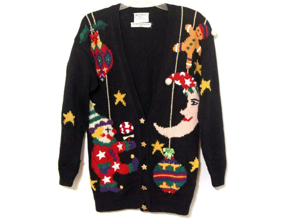 Vintage Christmas Sweaters.Vintage Ugly Christmas Sweater Clown Moon Toys Cardigan 1993
