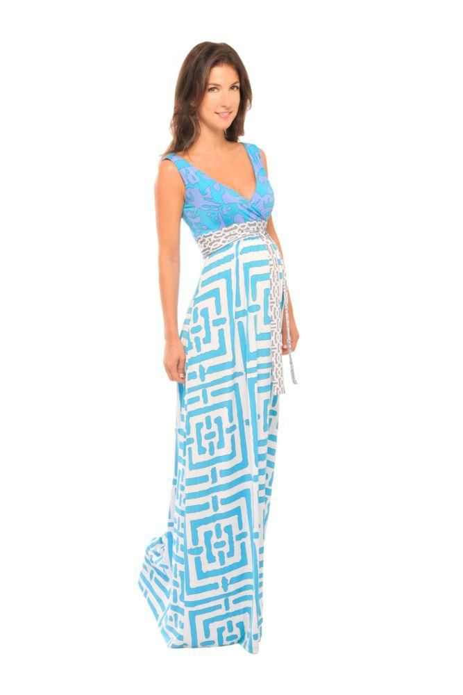 Mina Maxi Maternity Dress in Blue Geometric Print by Olian | Maxi ...