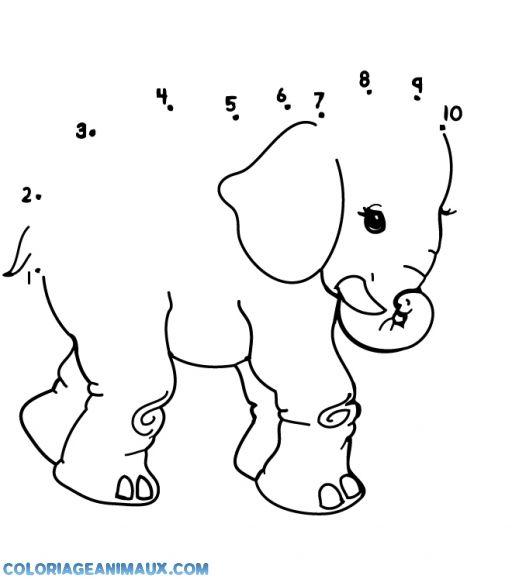 Coloriage l phant points relier pour enfants - Coloriage magique elephant ...