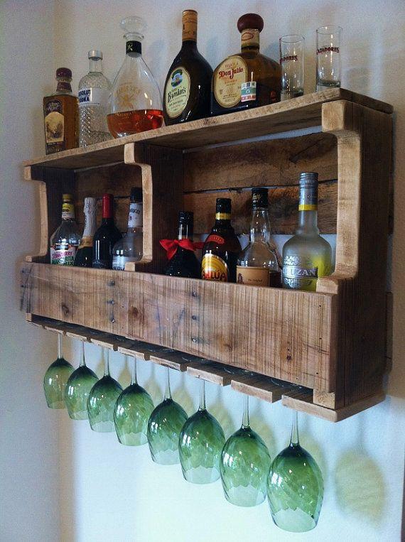 Rustic Wine Rack, Extra Wide Liquor Cabinet Reclaimed Wood ...