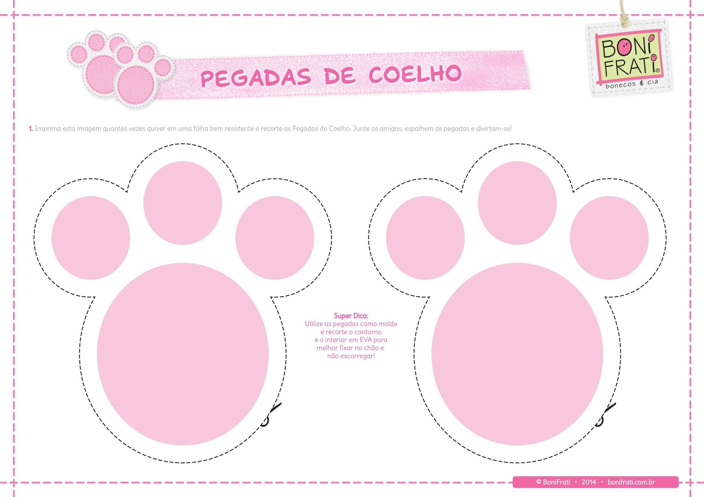 Pegada De Coelho Para Imprimir Pegadas De Coelho Coelho Para