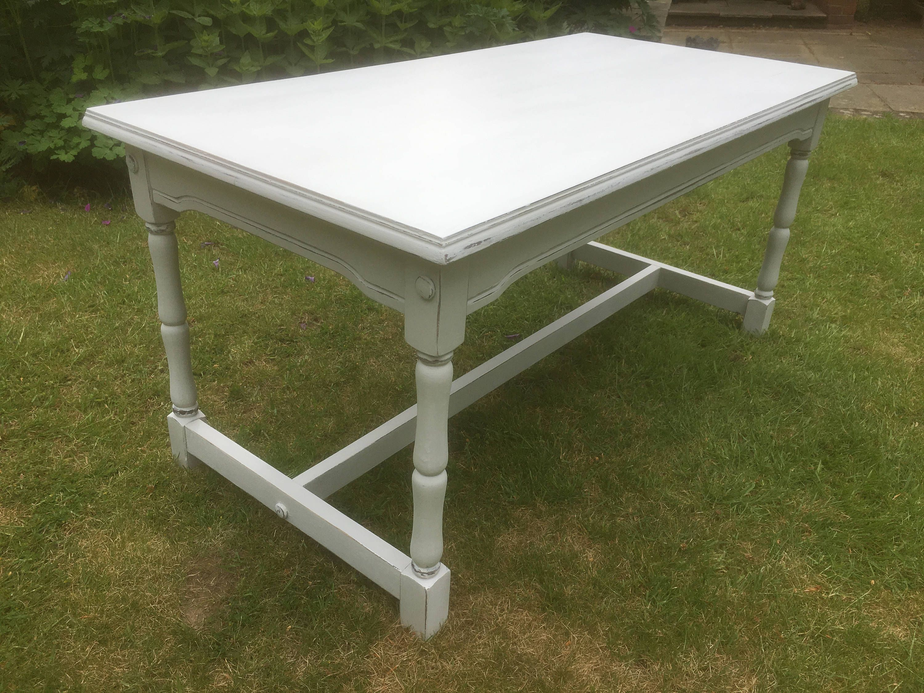 Hand painted vintage shabby chic oak coffee table in light