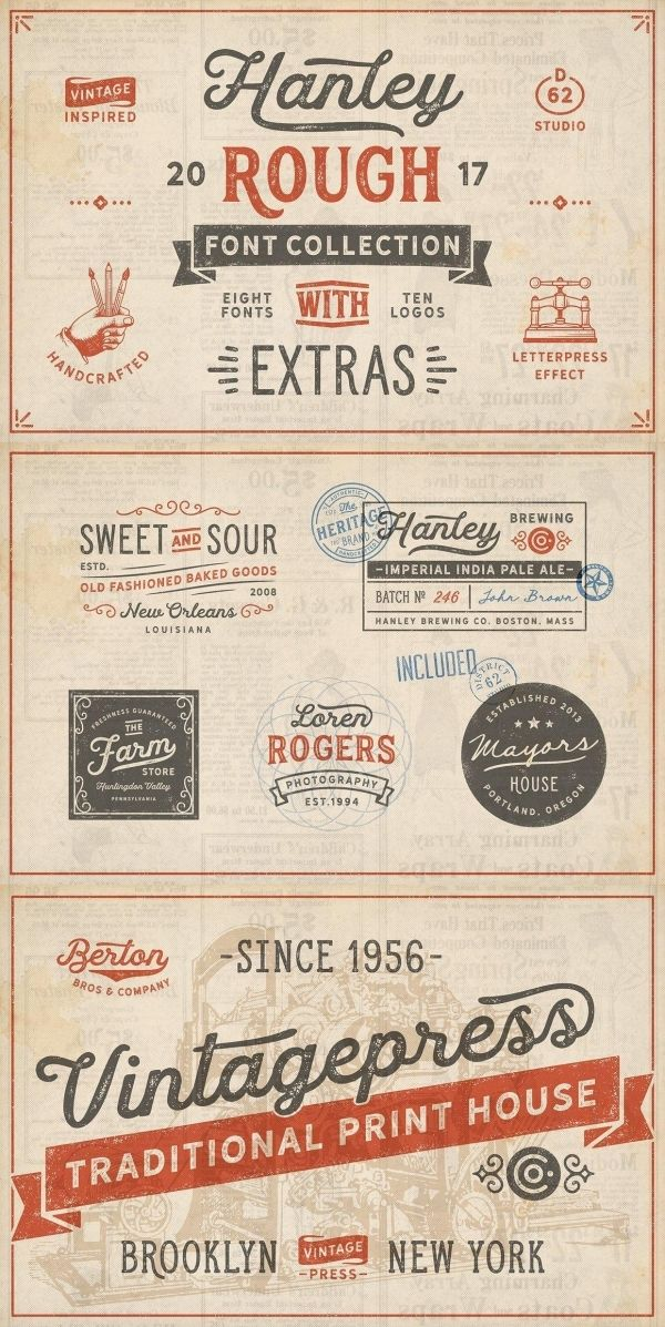 Hanley Rough Font Collection Resume Fonts, Signature fonts, Font