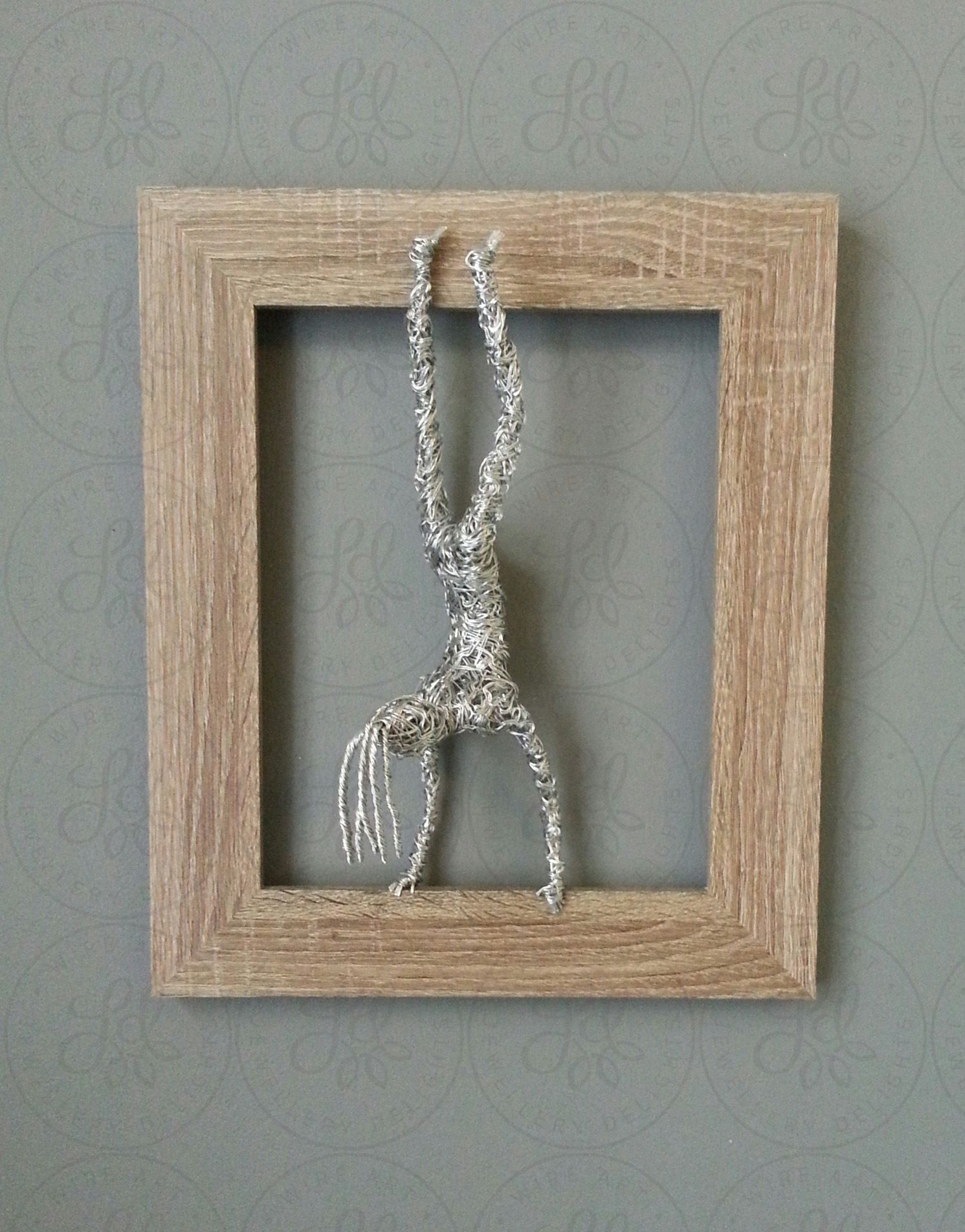 Hand Standing Lady 3D Wall Mounted Framed Wire Sculpture