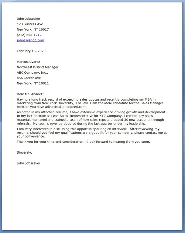 Sales Manager Cover Letters Cover Letter For Resume Sample