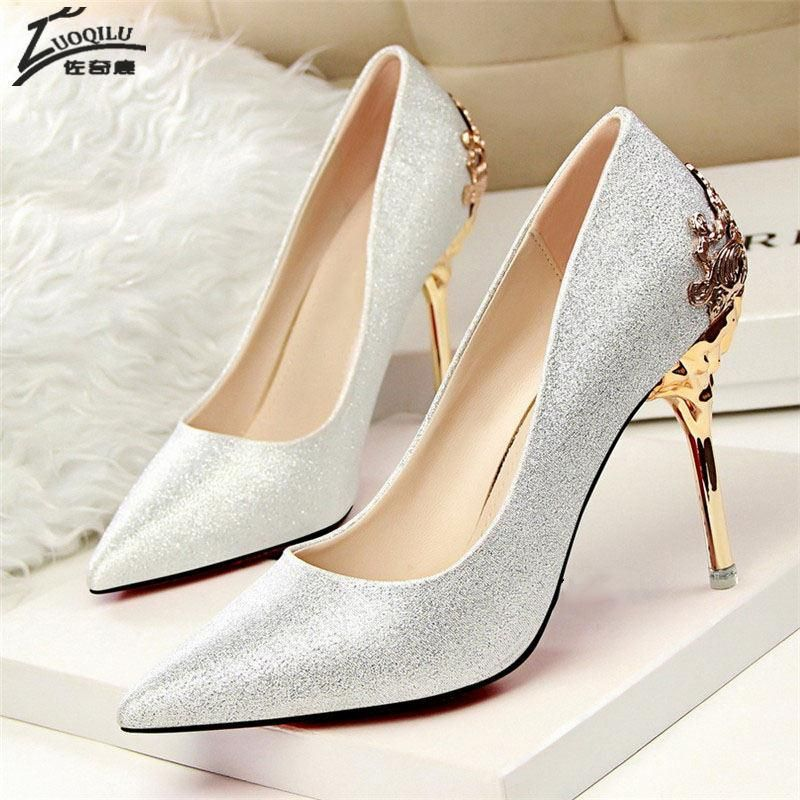 High Heels Shoes Women Pumps Red Gold Silver High Heels Shoes Wedding Party  Shoes 7abc2e1bf4b5