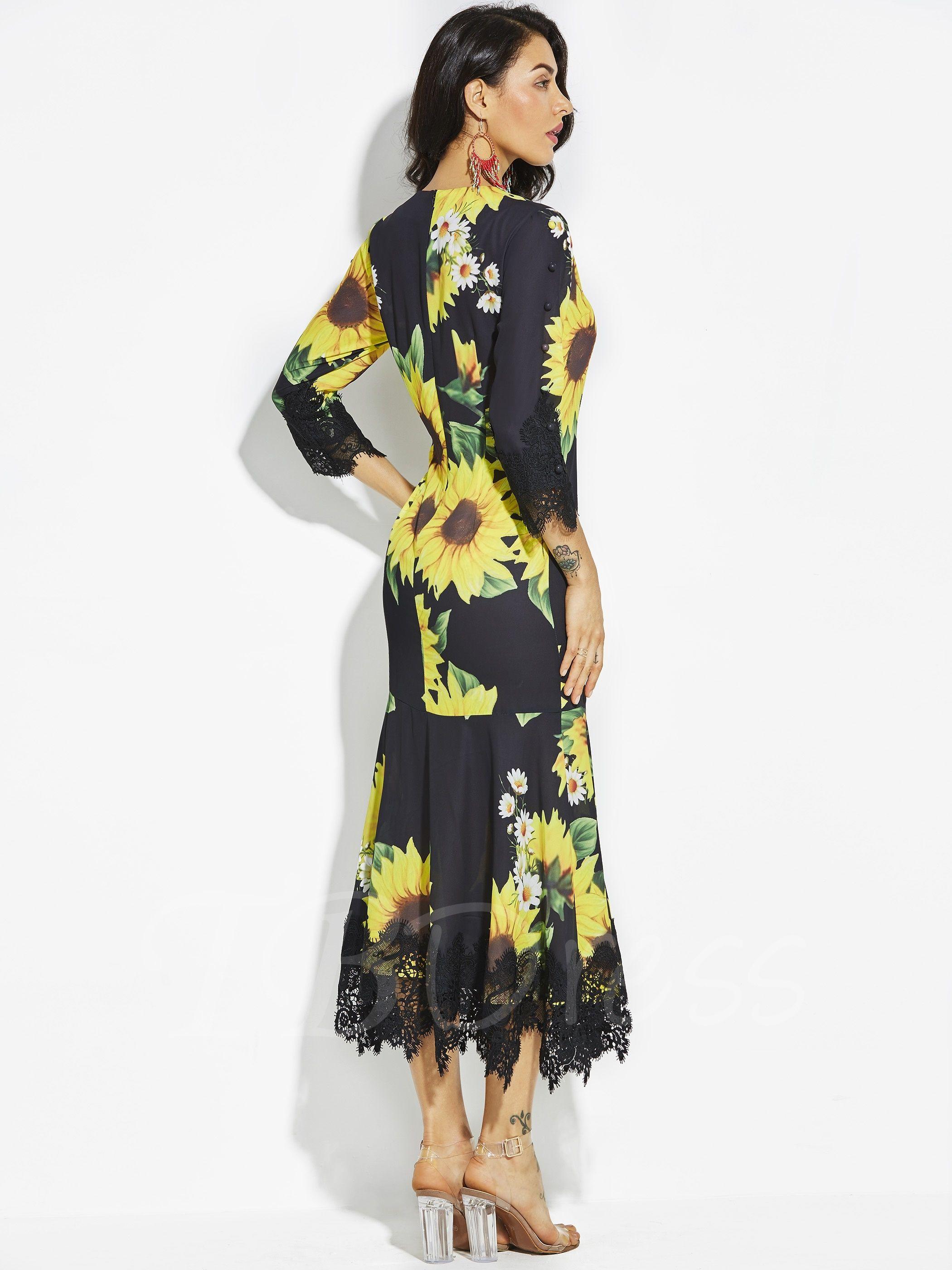 Round Neck Vacation Sunflower Print Women S Maxi Dress Womens Maxi Dresses Dresses Bridesmaid Dress Sizes [ 2800 x 2100 Pixel ]
