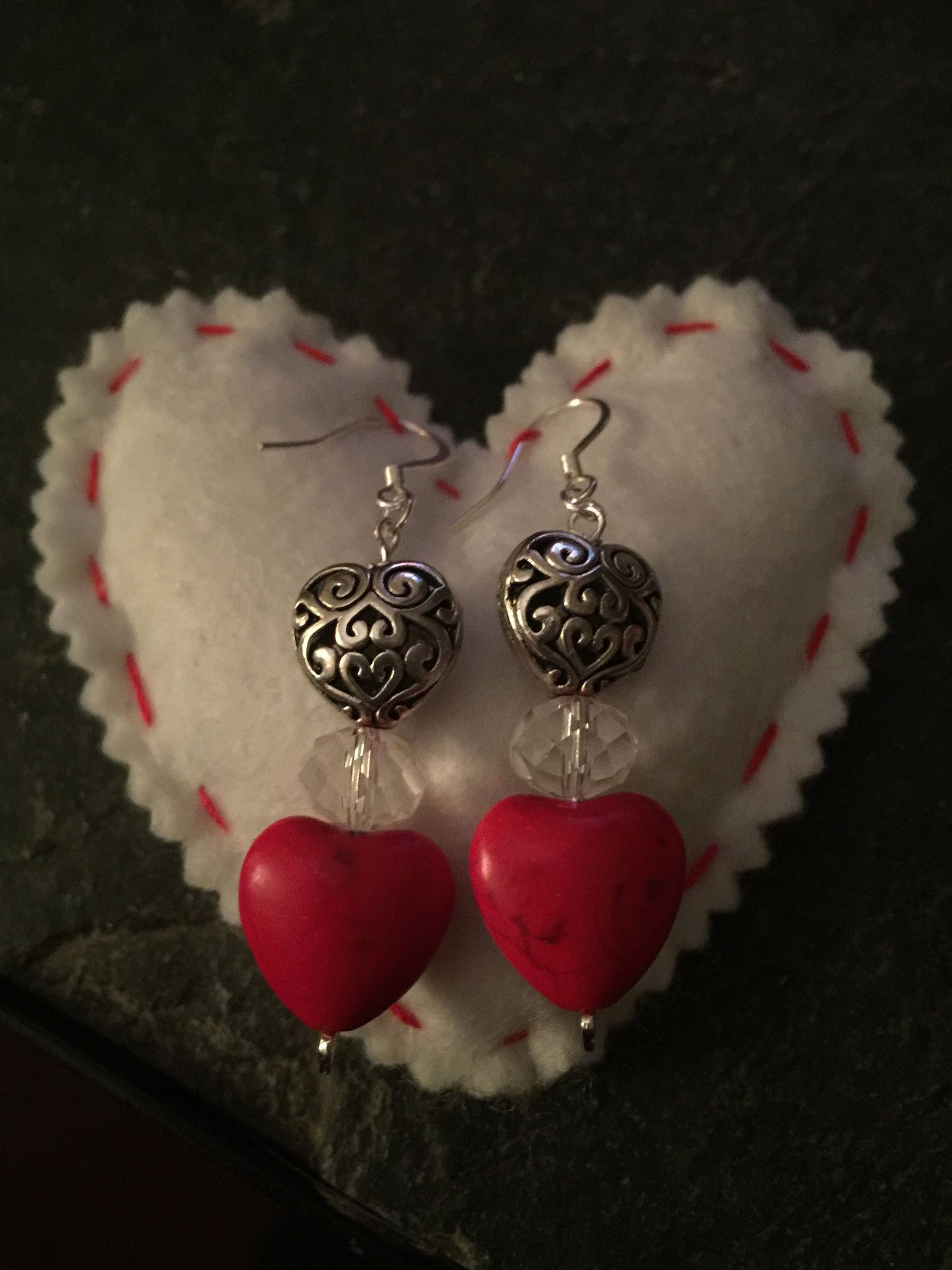 Red Heart Dangle Earrings - weird I'm more interested in the little idea of displaying on a pillow