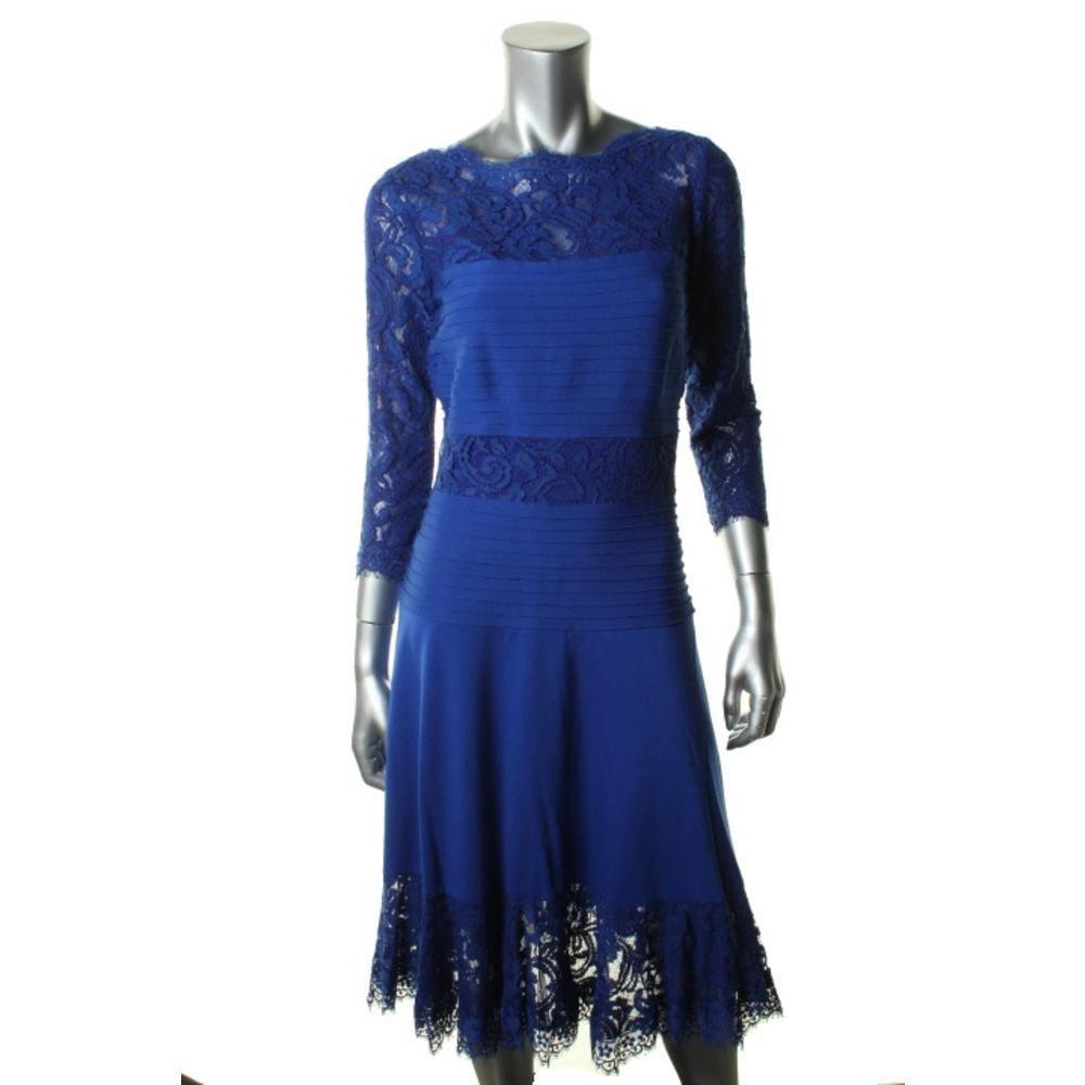 TADASHI SHOJI NEW Blue Ponte 3/4 Sleeves Party Cocktail Dress BHFO #TadashiShoji #CocktailDress