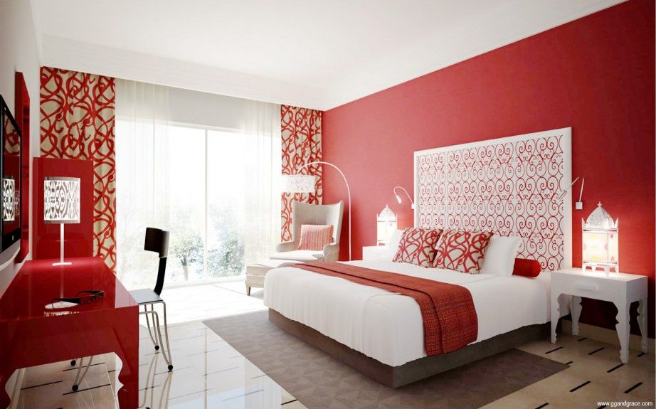 Luxury modern bedroom ideas for women with red and white colors
