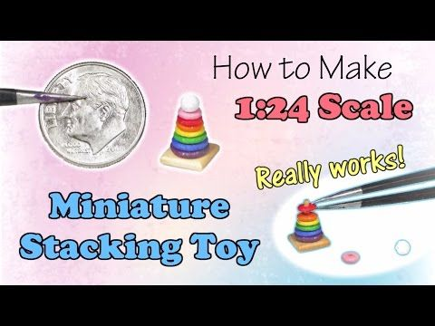 Miniature Children's Stacking Toy Tutorial | Dollhouse | How to Make 1:24 Scale DIY - YouTube #miniaturetoys