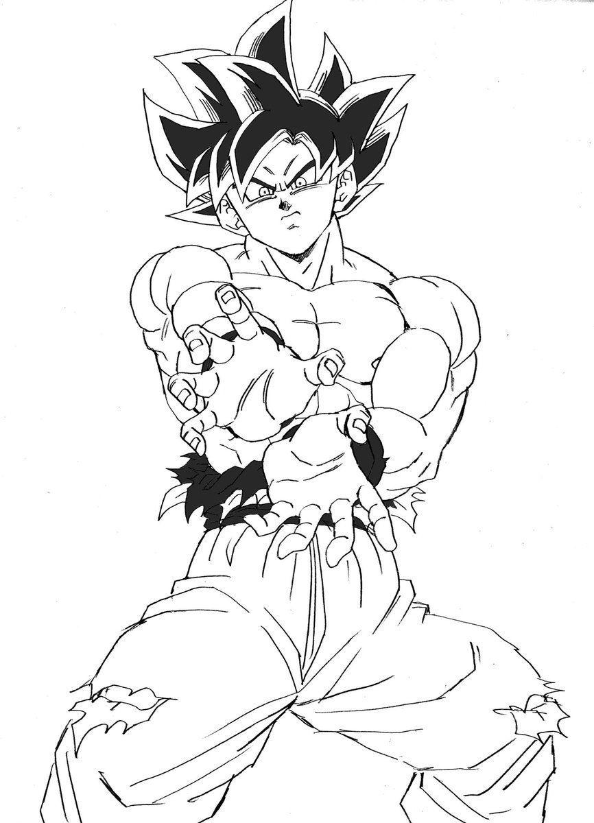 Resultado De Imagem Para Goku Ultra Instinct Kamehameha Lineart