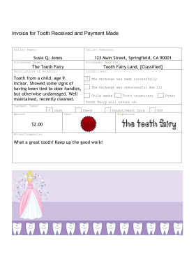 Payment Receipt Letter The Invoice In This Free Printable Tooth Fairy Letter Serves As A .