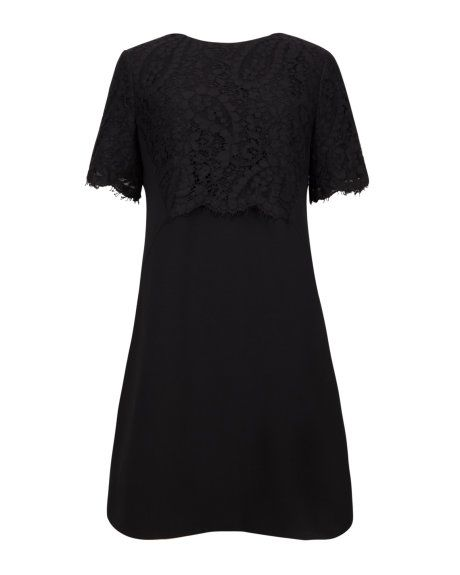 Lace detail shift dress - Black | Dresses | Ted Baker