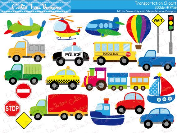 Transportation Clipart ,Car, Taxi, School Bus, Police Car