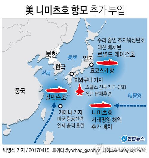 [그래픽] 美 니미츠호 항모 추가 투입…스텔스기에 폭탄탑재 훈련: US 3 NUKES AIR CARRIERS ZERO CAPABILITY TO DEFENSE DPRK'S 300,000 DEGREE CELSIUS STEALTH NUKES...INDEFENSIBLE !