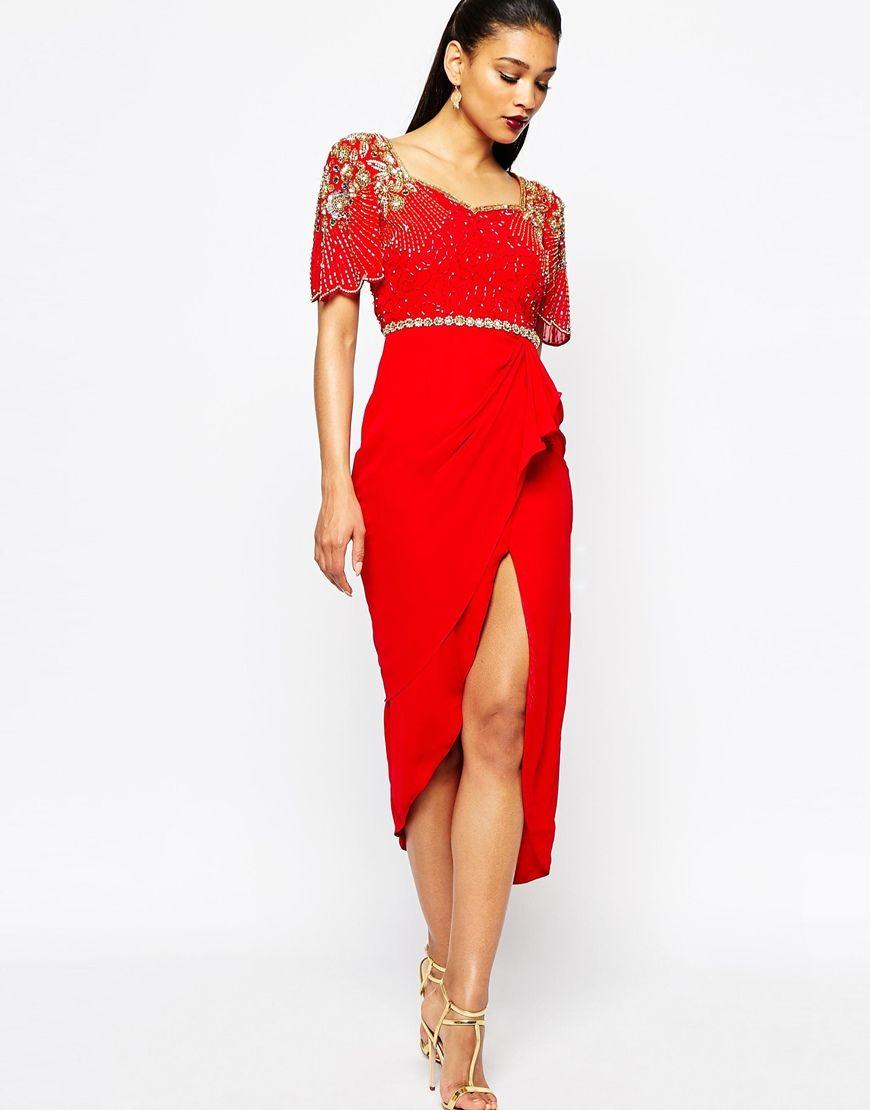 Image 4 of Virgos Lounge Laila Embellished Midi Dress With Thigh ...