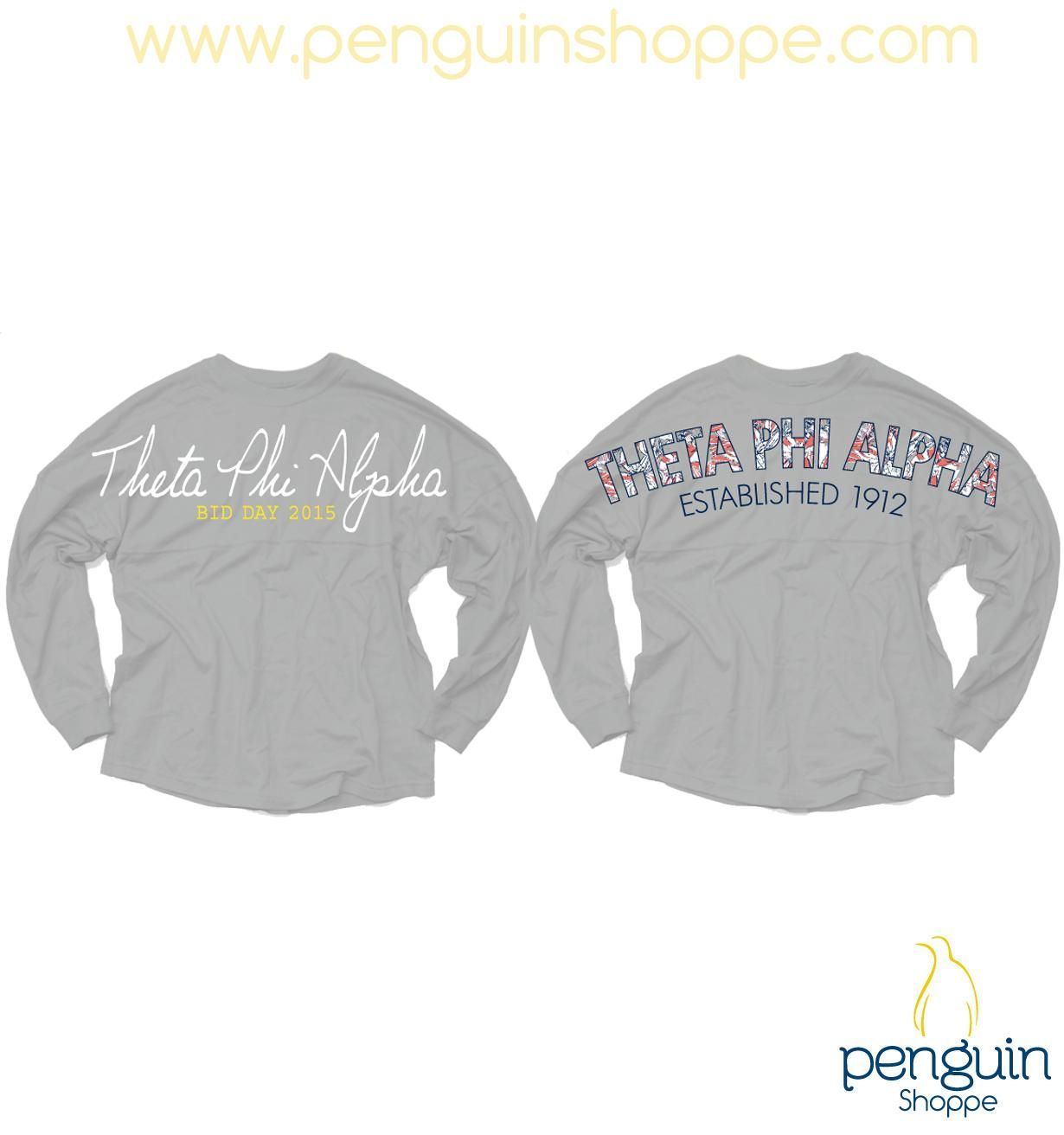 Theta Phi Alpha Mid Gray Floral Coastal Jersey! Make your own Custom Chapter Order design at Penguin Shoppe today