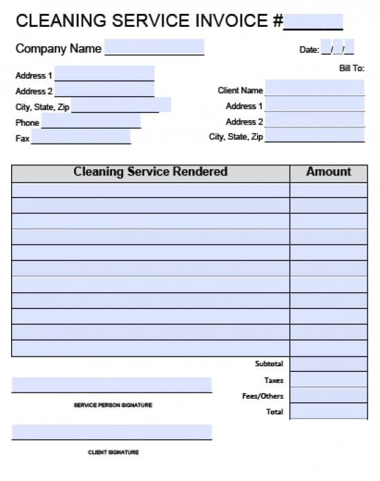 Free House Cleaning Service Invoice Template Excel PDF Word - Invoice For Services Template Free