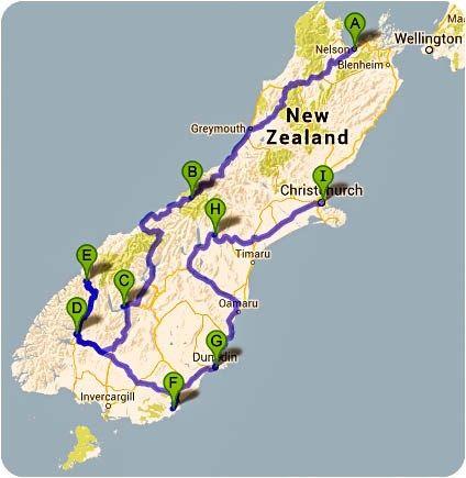 Route Neuseeland Fur 4 Wochen Neuseeland Neuseeland Reise Und