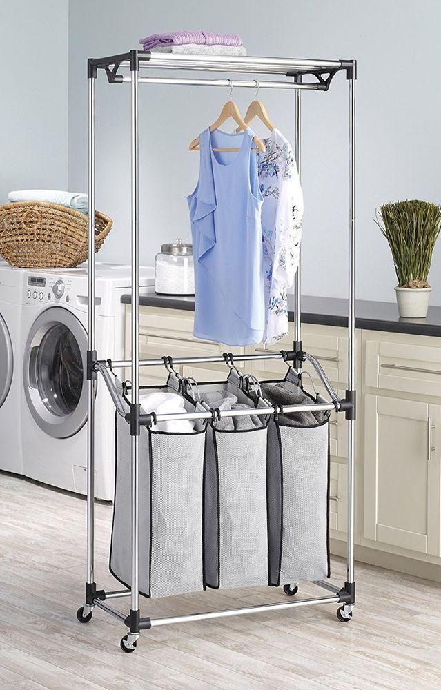 Triple Laundry Sorter On Wheels 3 Compartment Bin Centre