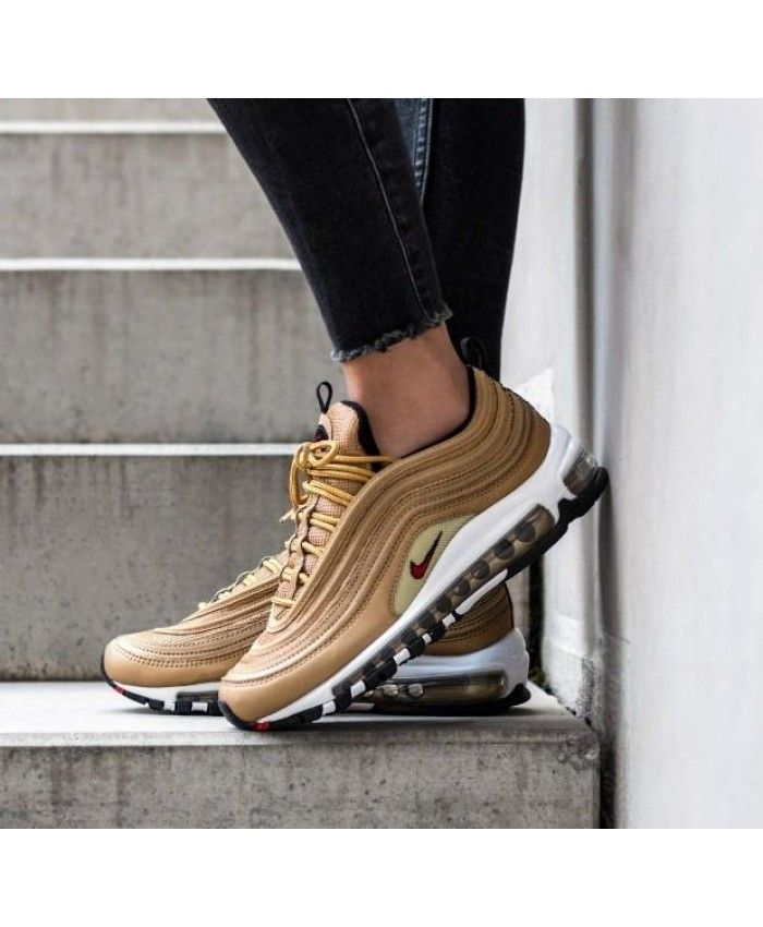 Nike Air Max 97 Og Qs Trainers In Metallic Gold Varsity Red White Black Nike Air Max Nike Air Max 97 Air Max 97