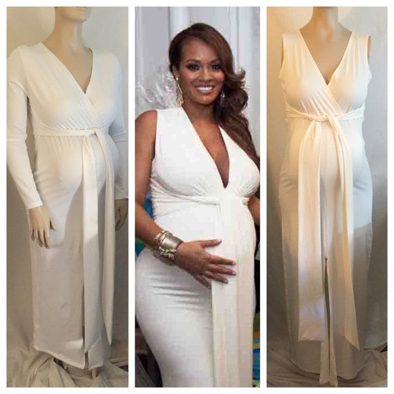 Maternity V Neck Fitted Dress Maternity Gown Baby Shower Dress