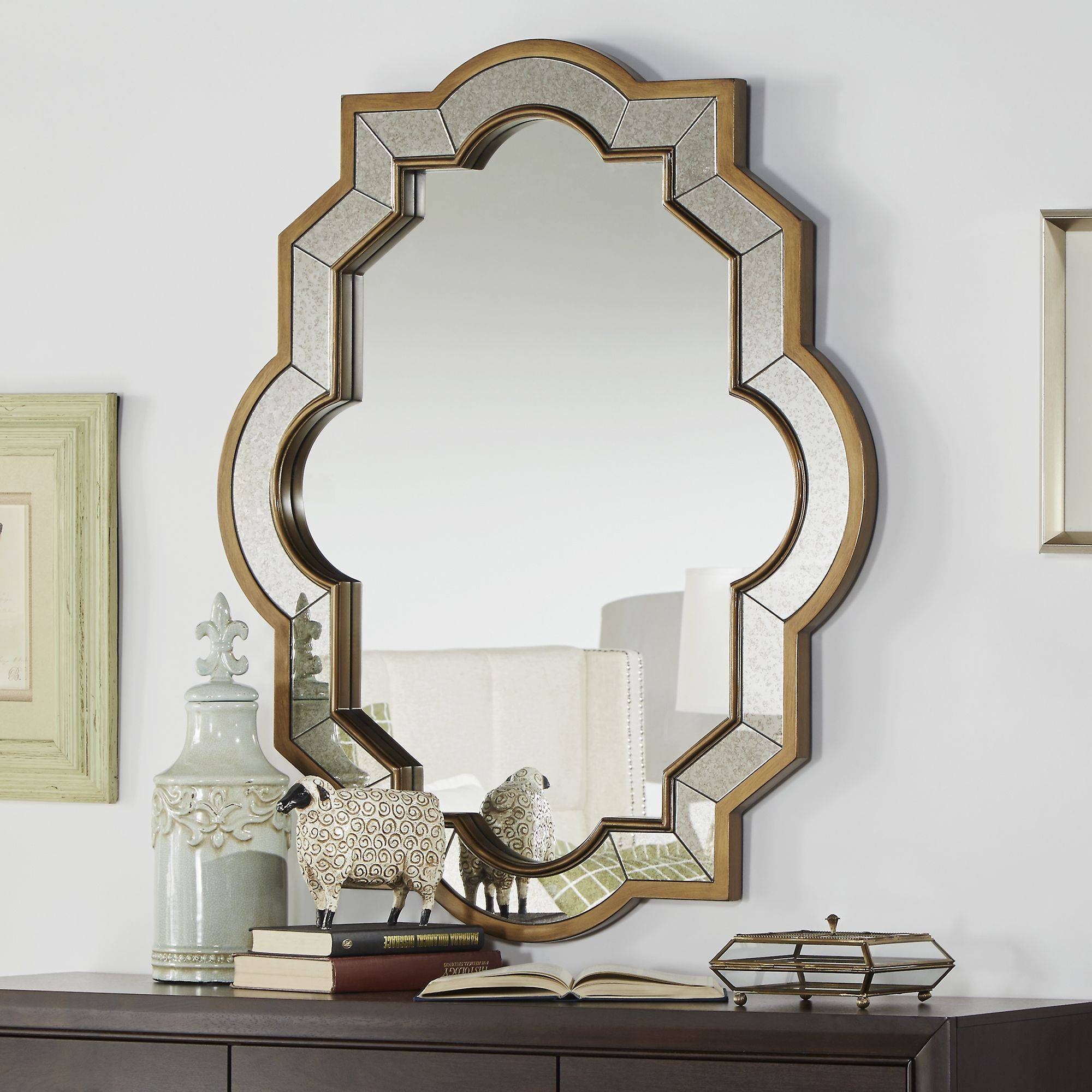 Paisley oval quatrefoil frame accent wall mirror for Unique wall frames