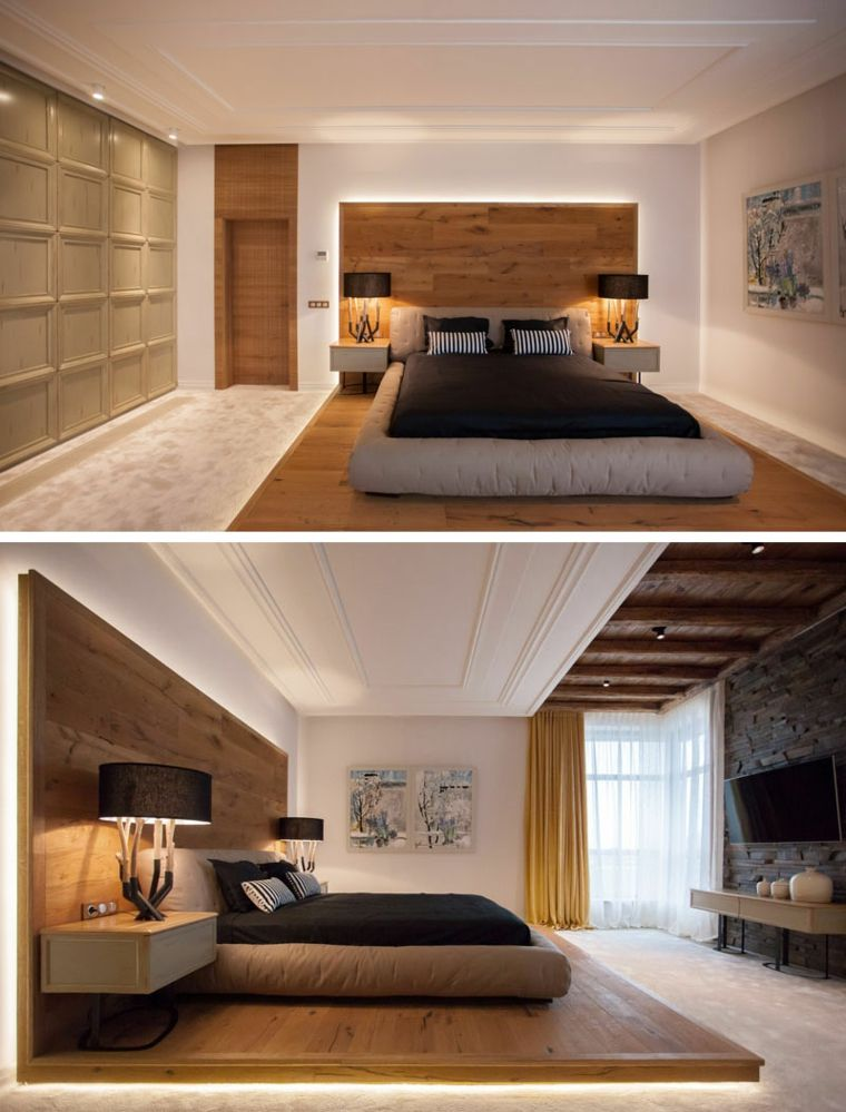 Plataforma de madera con luces led wood bedroom master design modern also the contemporary cubic house chi bed designs pinterest rh