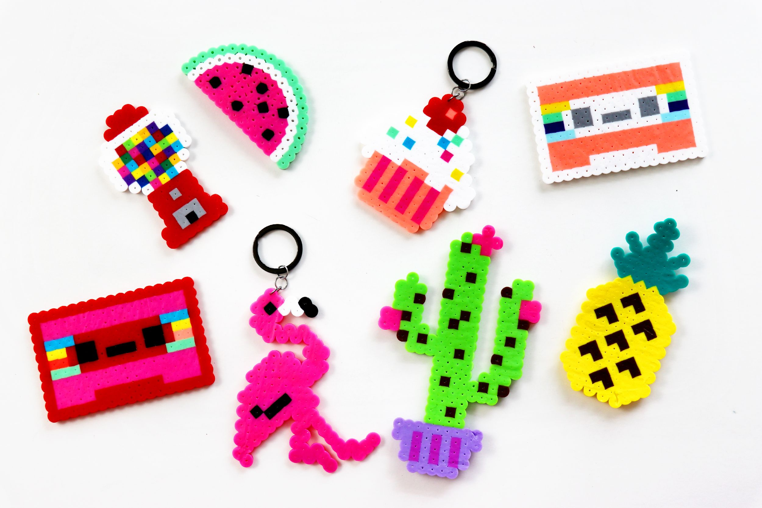 Easy DIY Ideas For When You're Bored This Summer - Perler Bead Key Chains! | Karen Kavett #summerfunideasforkids