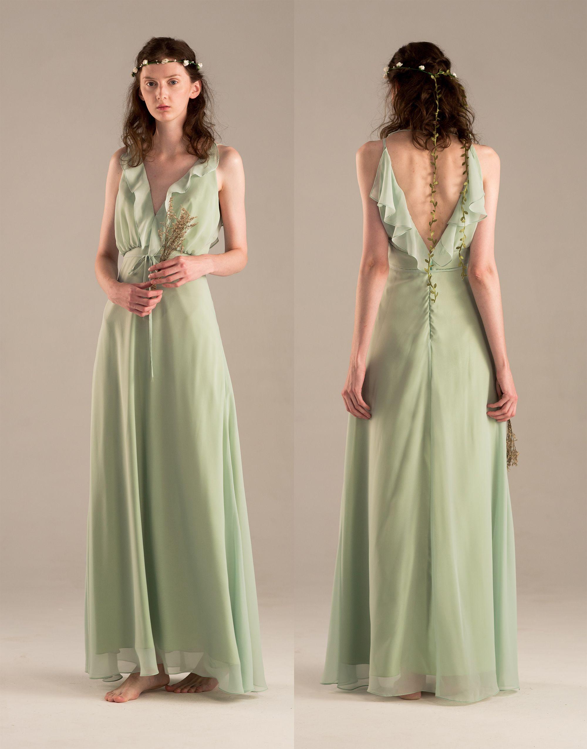 Dusty Shale Bridesmaid dress, Ruffle V neck Wedding dress, Long
