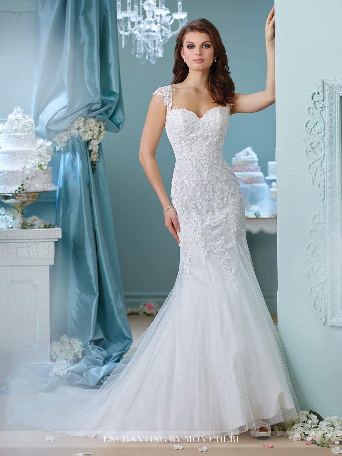Lace Cap Sleeve Wedding Dress- 216156- Enchanting by Mon Cheri ...