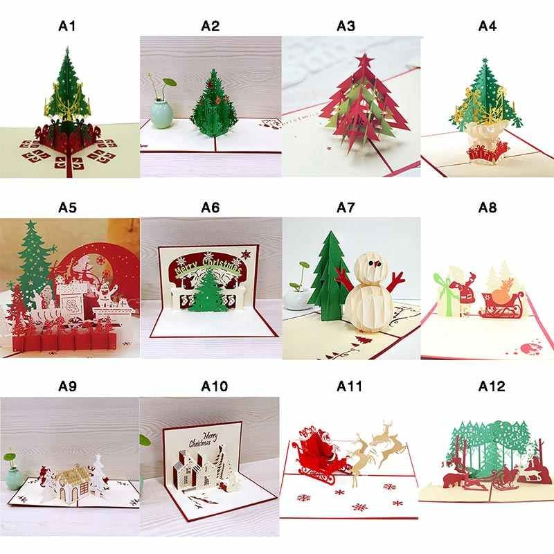 3D Christmas Cards Greeting Handmade Paper Card