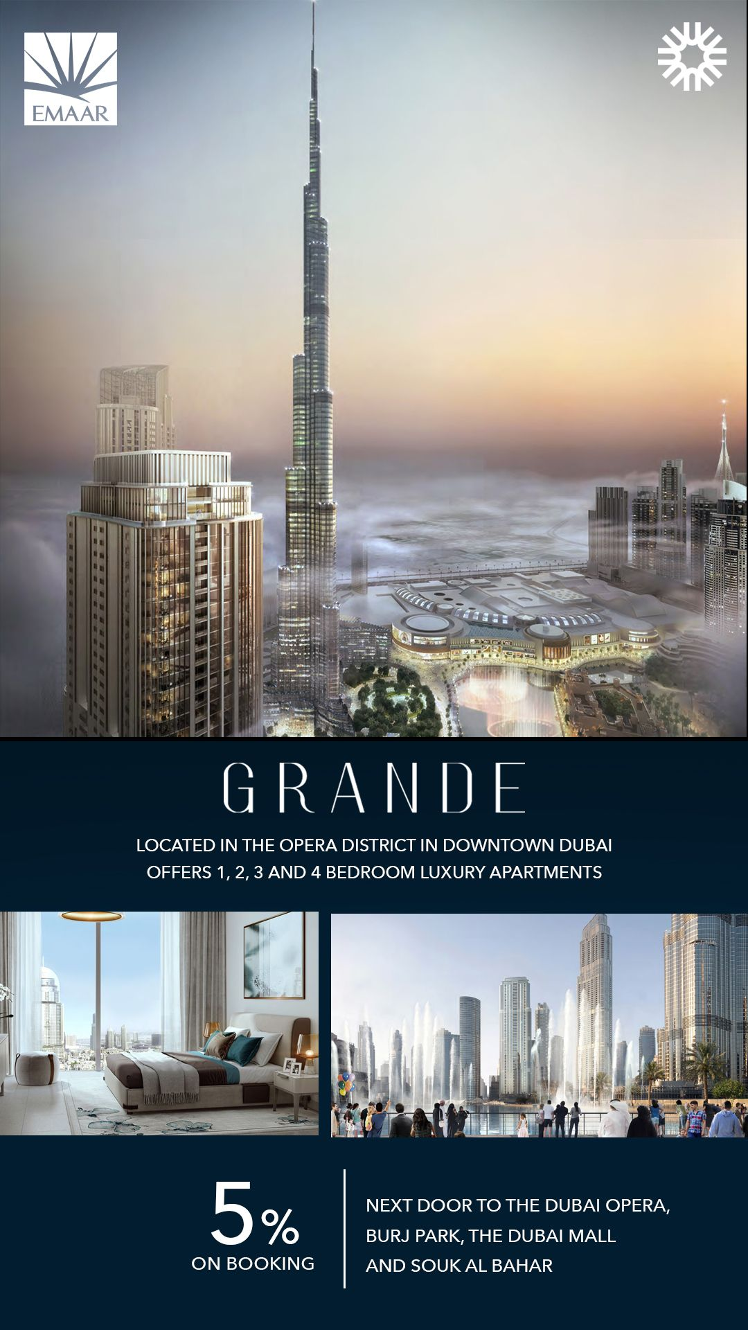 Grande Blends World Beating Views Of Burj Khalifa And The Dubai Fountain With A Class Lifestyle Select Between One Two Three Four Bedroom