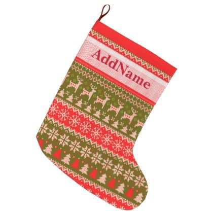 Knitted Christmas Pattern - add your name Large Christmas Stocking ...