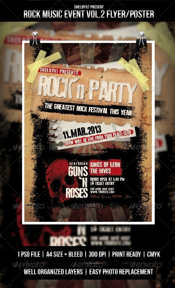 Rock Music Event Flyer  Poster Vol  Event Flyers Rock Music