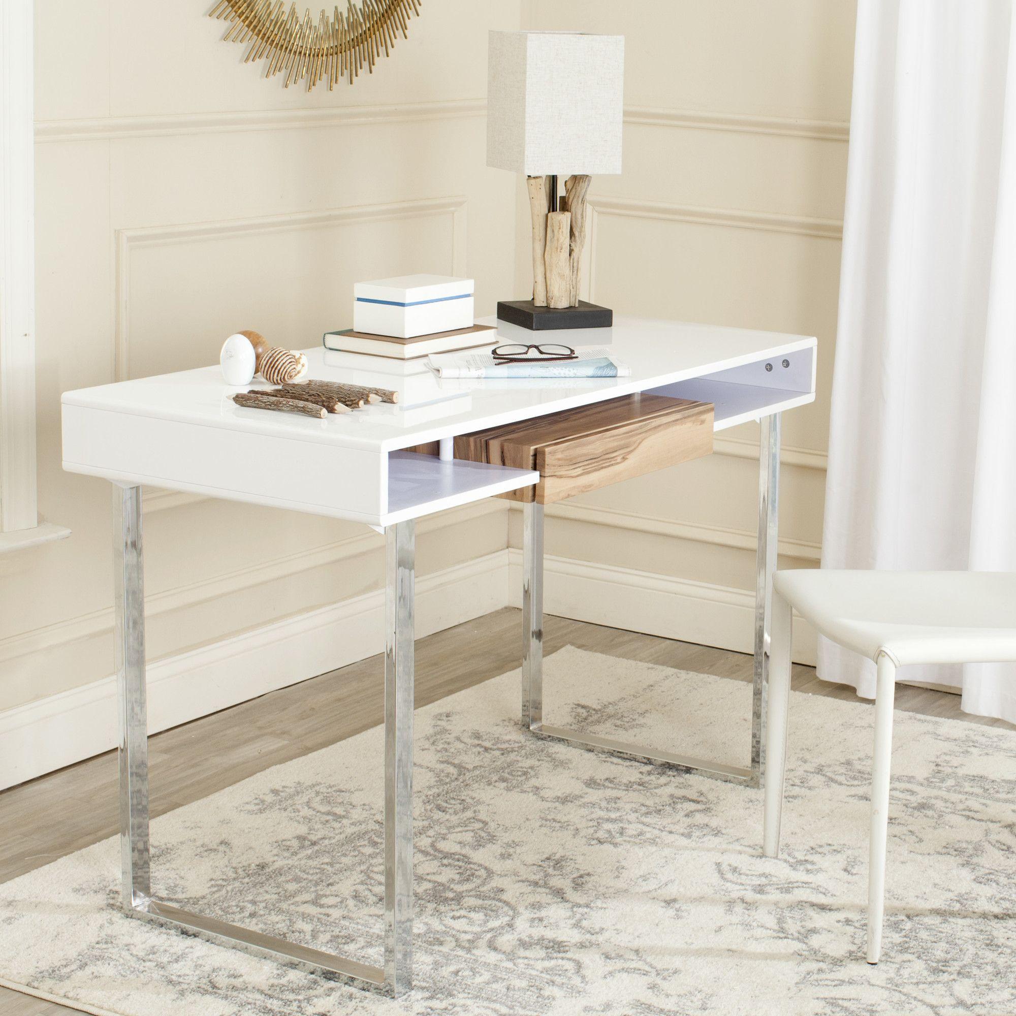 Safavieh Metroplitan Writing Desk Contemporary Writing Desk White Computer Desk Modern Computer Desk
