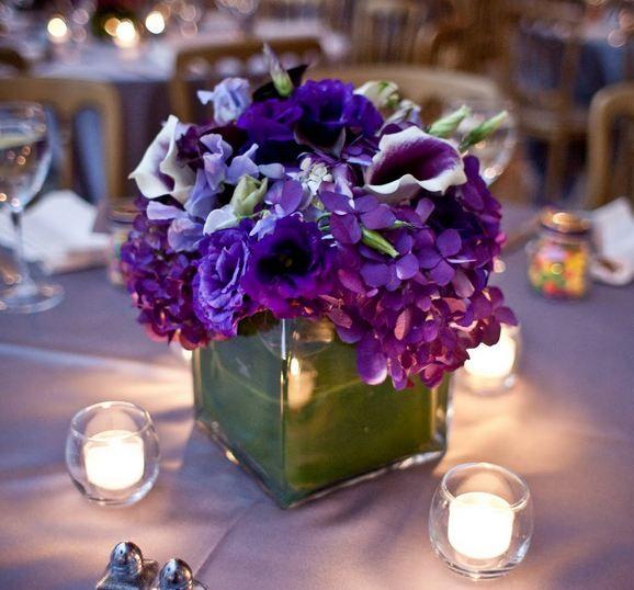 Blue Flower Centerpieces For Weddings: Purple Blue & Green Wedding Flowers~ Desiree's Inspiration