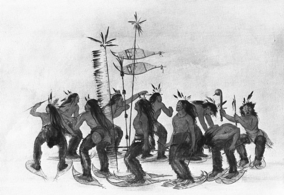 Plains Ojibwe Performing a Snowshoe Dance by George Catlin
