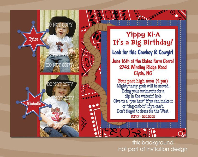 custom made western birthday party invitations   Western theme ...