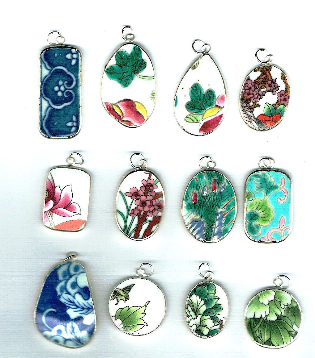Lot of 12 Wholesale Pottery Ming Chinese Shard Pendants Lot 9 - pinned by pin4etsy.com