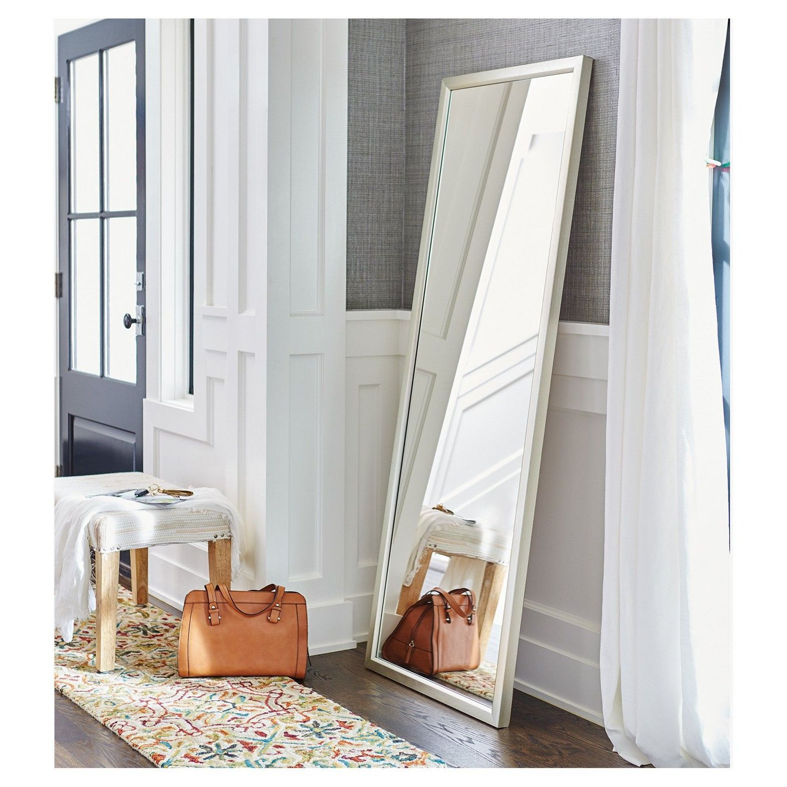 With Its Luminous Beveled Frame And Ample Size Threshold 39 S Leaner Mirror Make A Dramatic Statement This Flo Leaning Floor Mirror Floor Mirror Simple Room